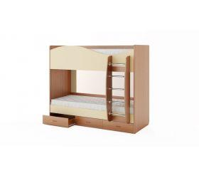 Кровать 2-х ярусная с ящиками (Бук темный/Персик)