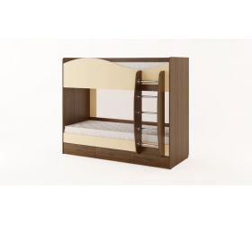 Кровать 2-х ярусная с ящиками (Орех темный/Персик)
