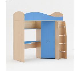 Кровать чердак (Беленый дуб/Синий)