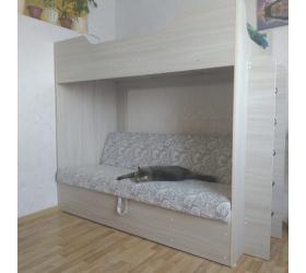 Кровать двухъярусная с диваном (Беленый дуб)