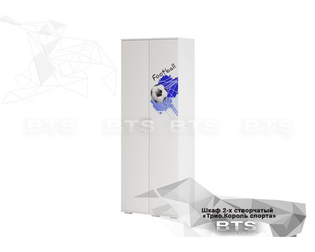 Шкаф 2-х створчатый ШК-09 Трио (белый/белый,фотопечать Король спорта)