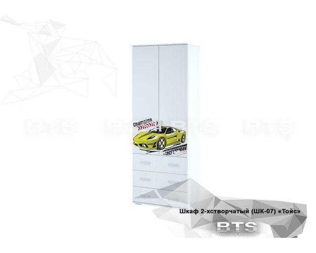 Шкаф 2-х створчатый ШК-07 Тойс (белый/белый,фотопечать Champion)