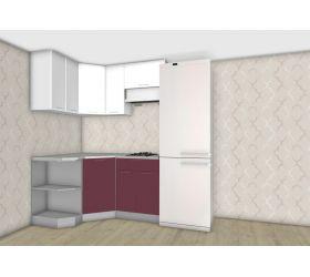 Кухня угловая Бордовый/Белый глянец 1500х1200 мм