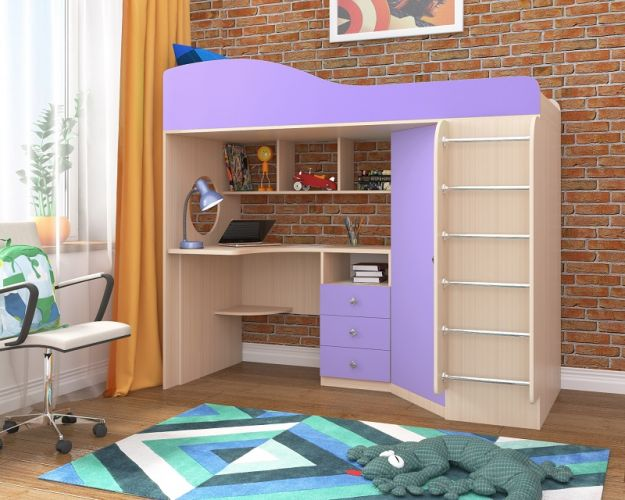 Детская кровать-чердак Кадет-1 с лестницей