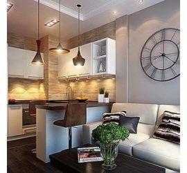 Интерьерные решения для гостиной совмещенной с кухней
